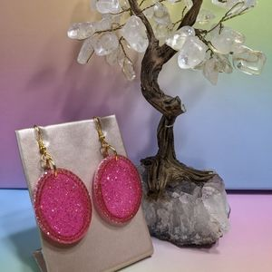 Pink Glitter & Rhinestone Resin Dangle Earrings